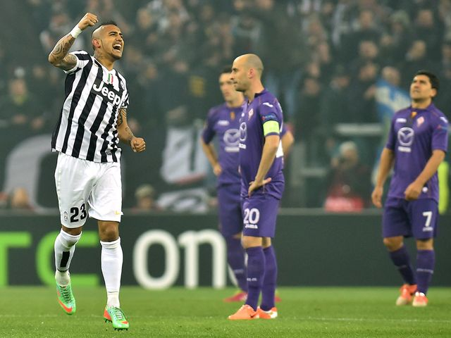 Arturo Vidal of Juventus celebrates after scoring