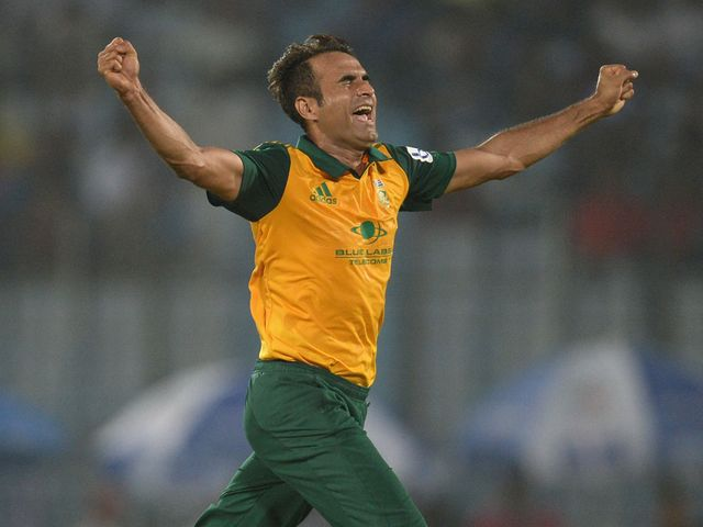 Imran Tahir celebrates after ripping out the middle order