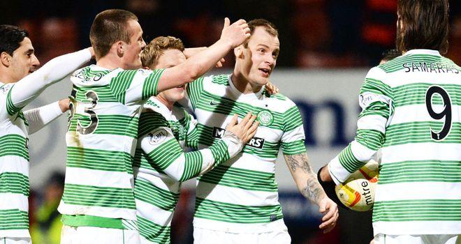 Celtic players celebrate against Partick Thistle