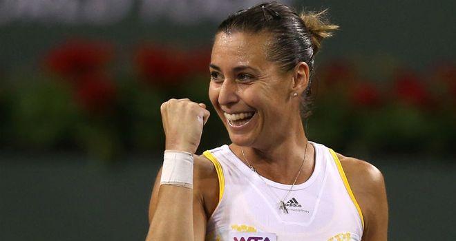 Flavia Pennetta: The Italian celebrates her victory over Agnieszka Radwanska at Indian Wells