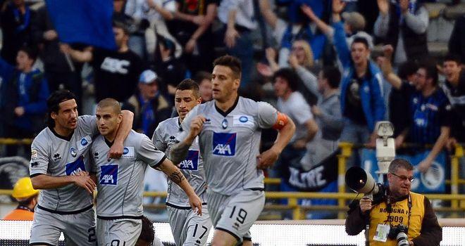 Giuseppe De Luca and Atalanta celebrate their opening goal