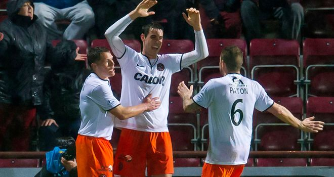 Brian Graham: Celebrates opening the scoring at Tynecastle