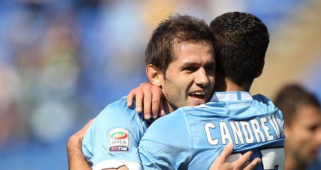 Senad Lulic (left) and Antonio Candreva celebrate