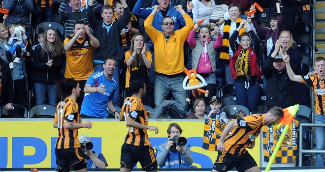David Meyler celebrates his goal as Hull City netted three times in nine second half minutes