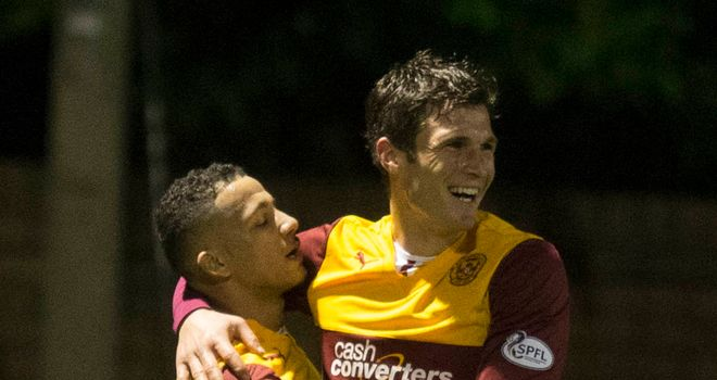 John Sutton: Celebrates Motherwell's second goal with Lionel Ainsworth