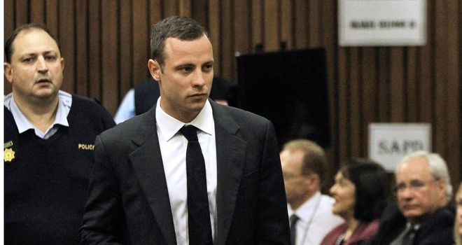 Oscar Pistorius at the first day of his trial in Pretoria