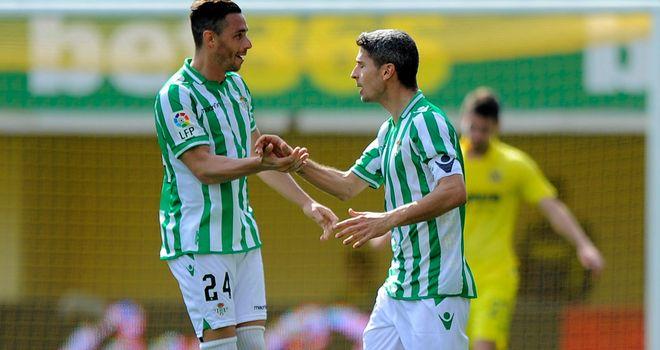 Betis forward Ruben Castro celebrates