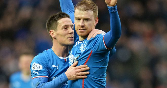 Steve Smith (r) and Ian Black: Celebrate the first goal at Ibrox