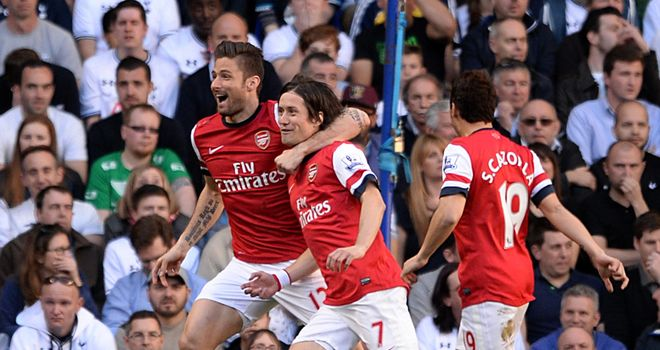 Tomas Rosicky celebrates his stunner after 72 seconds