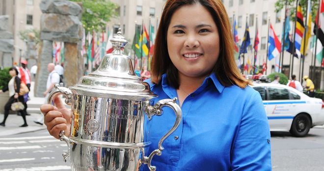 Current US Women's Open champion with the trophy in New York