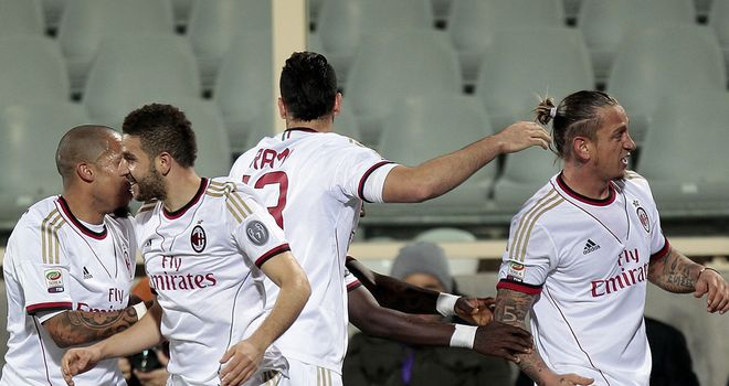 Philippe Mexes of AC Milan celebrates after scoring