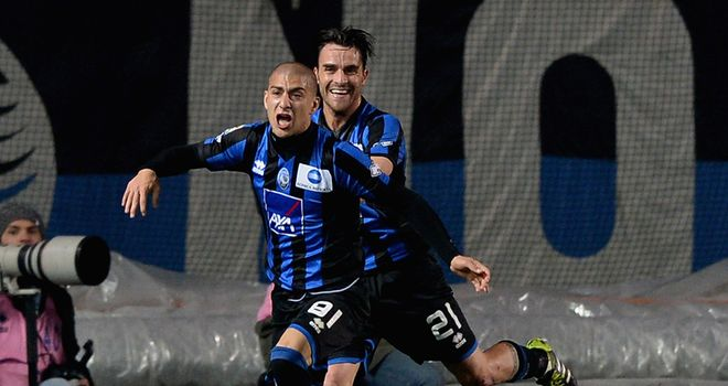 Giuseppe De Luca of Atalanta celebrates after scoring