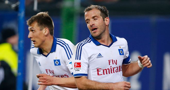Rafael van der Vaart of Hamburg appears frustrated