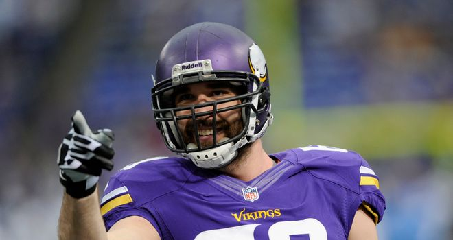 Jared Allen of the Minnesota Vikings looks on before the game against the Detroit Lions