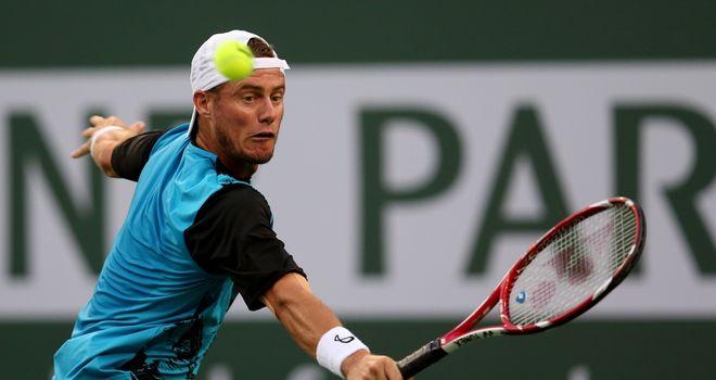 Lleyton Hewitt hits a return to Matthew Ebden during the BNP Paribas Open at Indian Wells