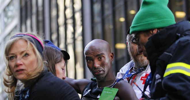Mo Farah: Collapsed after finishing second in New York