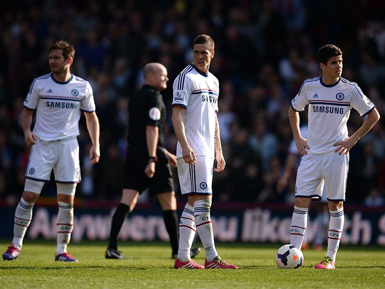 Chelsea show their dejection during the defeat at Selhurst Park