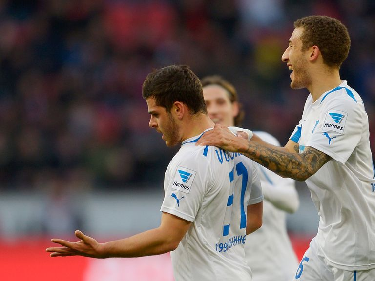 Hoffenheim celebrate against Bayer Leverkusen
