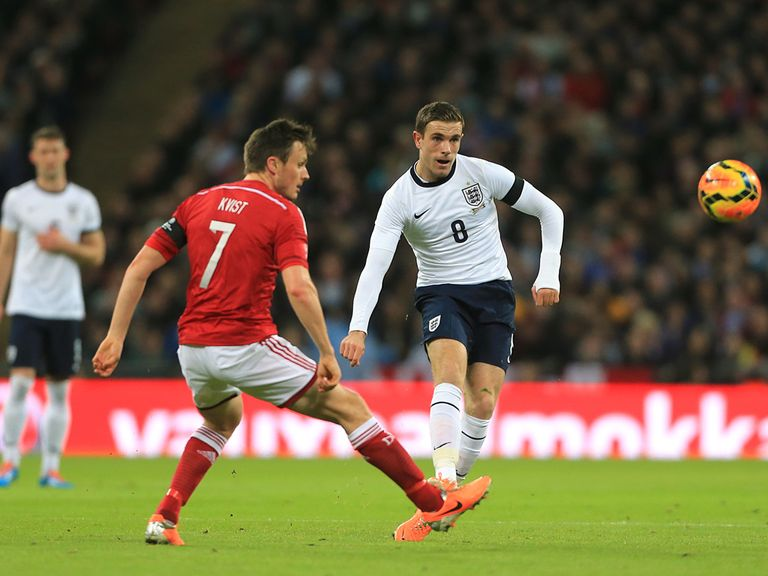 Jordan Henderson in action for England against Denmark