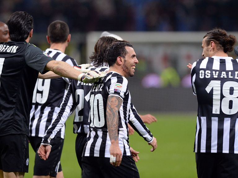 Juventus celebrate against AC Milan