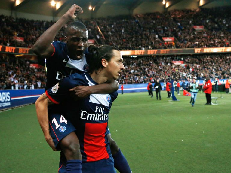 Zlatan Ibrahimovic is congratulated by Blaise Matuidi