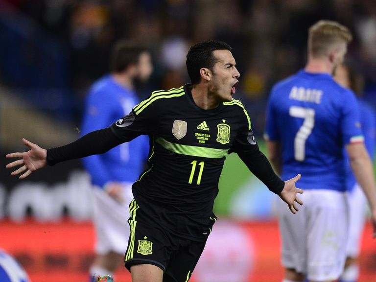 Pedro celebrates Spain's winner against Italy