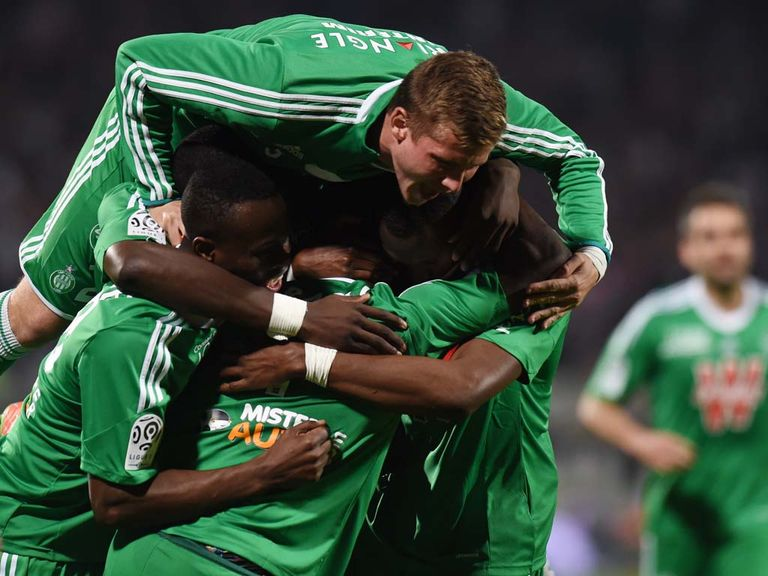 St Etienne celebrate victory over Lyon