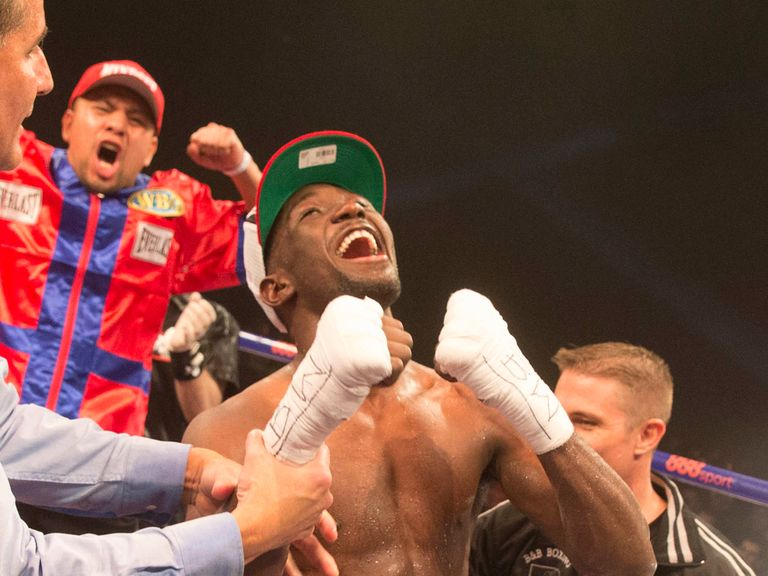 Terence Crawford celebrates his victory