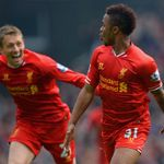Raheem Sterling: Celebrates goal with Lucas Leiva