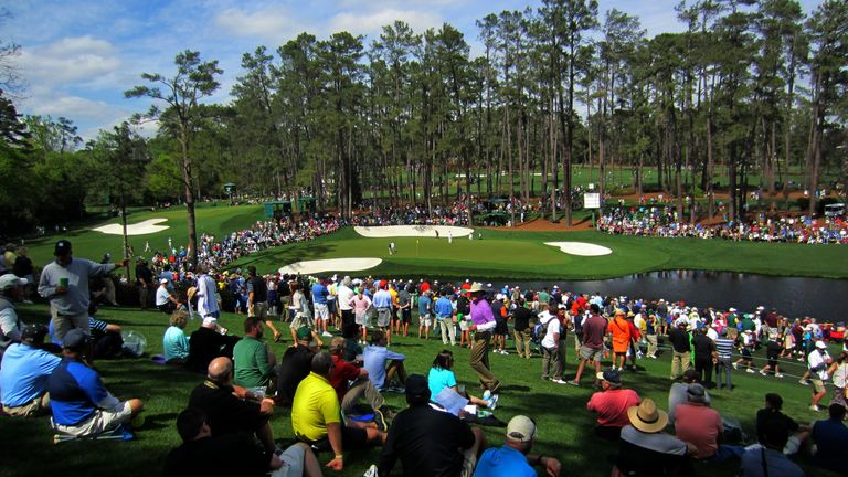 Beautiful Augusta National. Here's the view looking down to the 16th green.