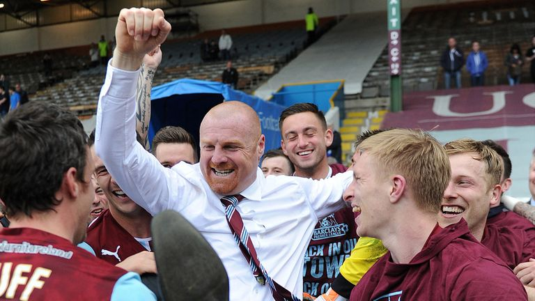 Sean Dyche: Celebrates Burnley's promotion