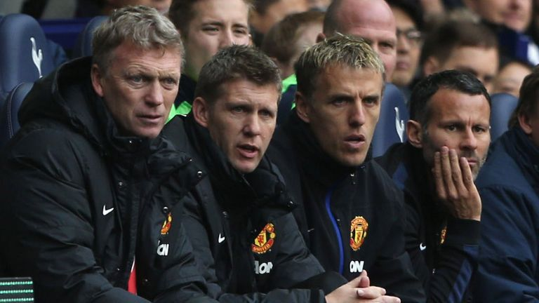 Steve Round (2nd left) believed to have left, but Phil Neville keeps his job