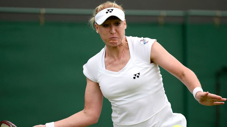 Elena Baltacha playing at Wimbledon last summer