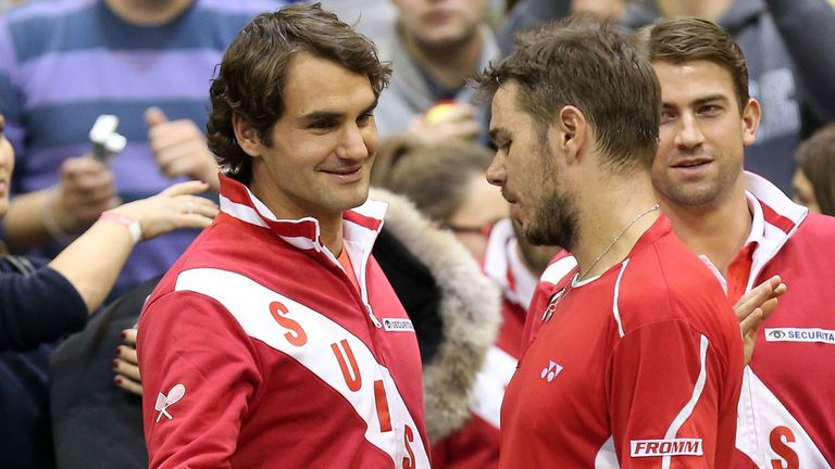 Swiss Davis Cup team-mates Roger Federer and Stanislas Wawrinka face-off in Monte Carlo