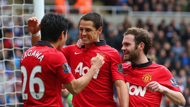 Javier Hernandez: Celebrates goal at Newcastle