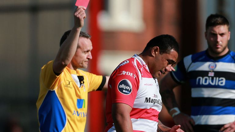 Sila Puafisi is shown a red card by referee Tim Wigglesworth at Kingsholm last Saturday