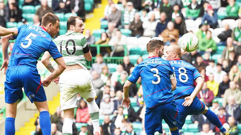 Anthony Stokes: Nets the first goal of his hat-trick in Celtic's victory