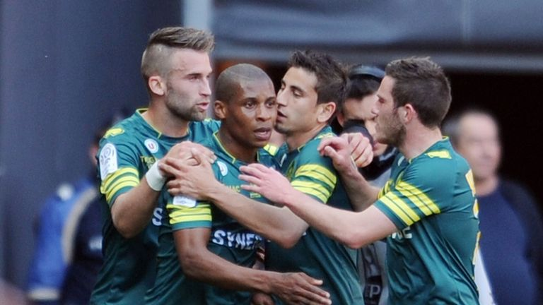 Nantes forward Yohan Audel is congratulated after scoring