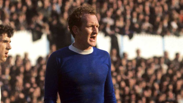 Sandy Brown: Scottish defender in action for Everton in 1969