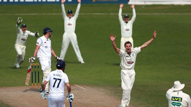 Charlie Morris claims the wicket of Derbyshire's Charlie Morris