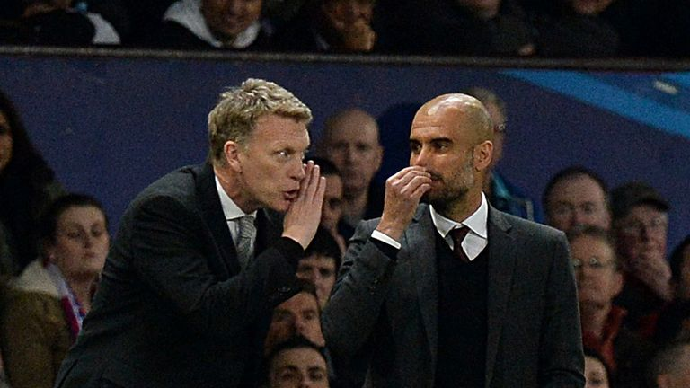 Bayern Munich manager Pep Guardiola and Manchester United manager David Moyes