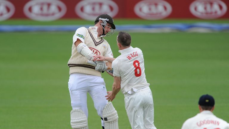 Graham Wagg trapped Graeme Smith lbw at the Oval