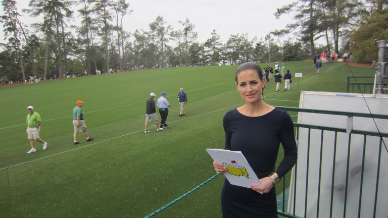 Kirsty by the first fairway at Augusta National