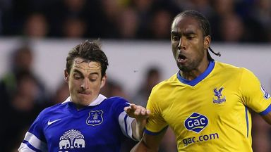 Leighton Baines (left): Defender was unable to prevent Everton losing 3-2 against Palace