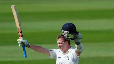 Sam Robson celebrates his century against Nottinghamshire