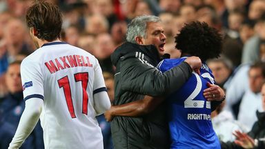 Mourinho: Celebrates with Willian after victory over PSG last season