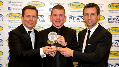 Jonny Hayes (centre): Sky Sports presenter David Tanner (left) and Dunfermline coach Neil McCann (right) present the Goal of the Season award