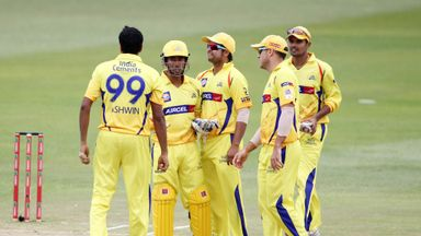 Chennai Super Kings players celebrate a wicket during on October 22, 2012 during a Champions League T20 (CLT20) match against Yorkshire at the Kingsmead st