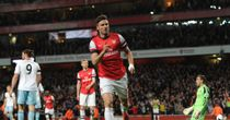 Olivier Giroud celebrates his goal against West Ham