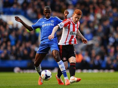 Ramires and Jack Colback battle for the ball in midfield